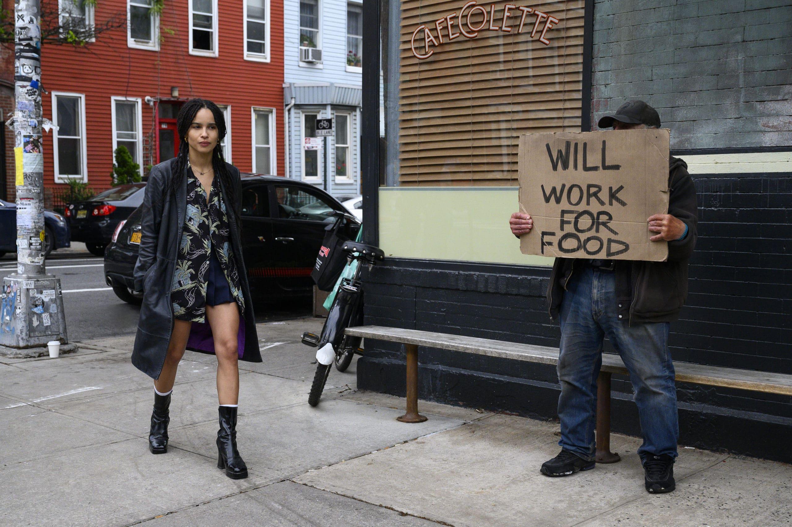 Zoë Kravitz as Rob in High Fidelity in her Beastie Boys shirt.