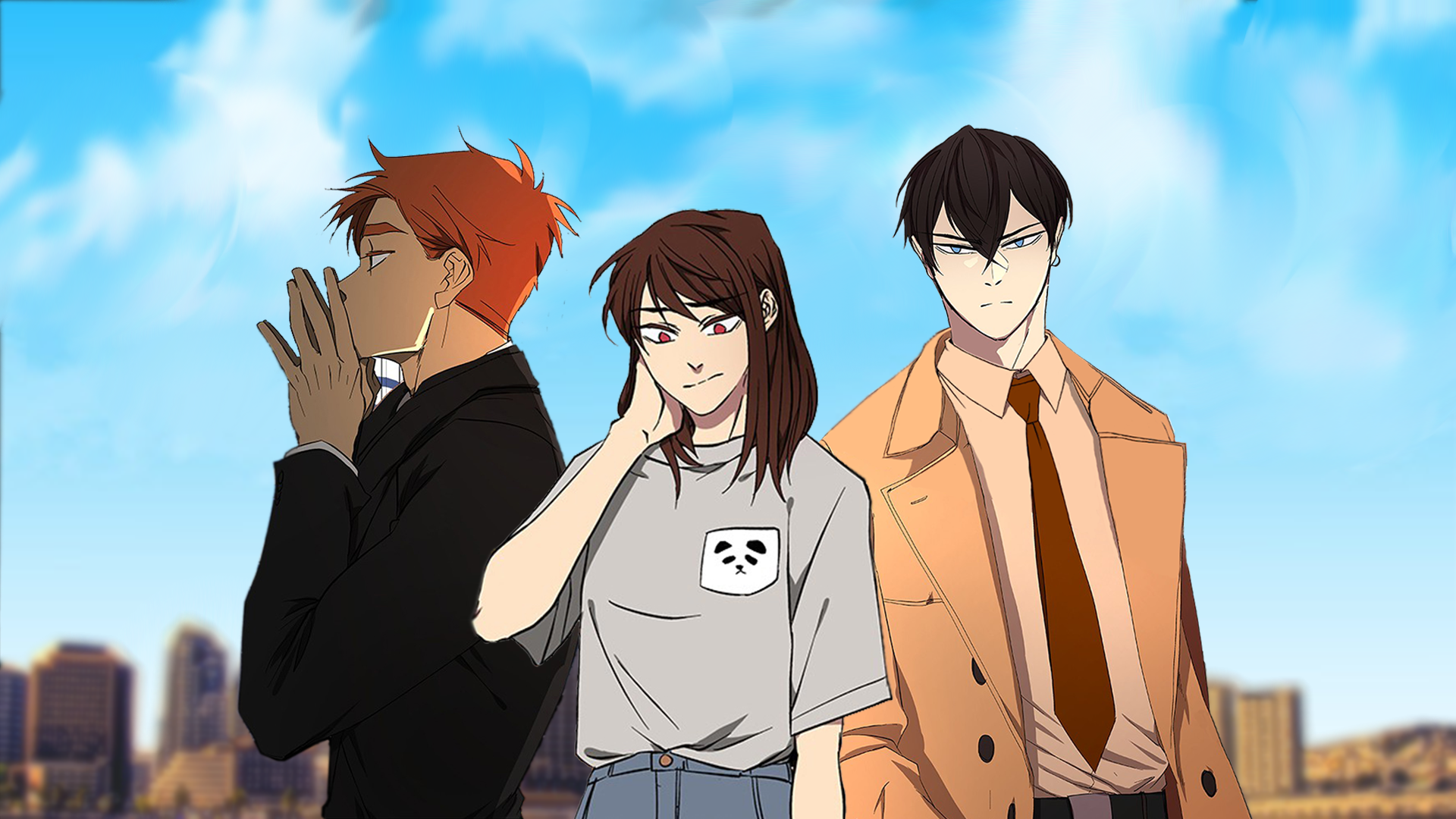 The three main characters in this webtoon standing together. Shin-Ae is  in the middle.