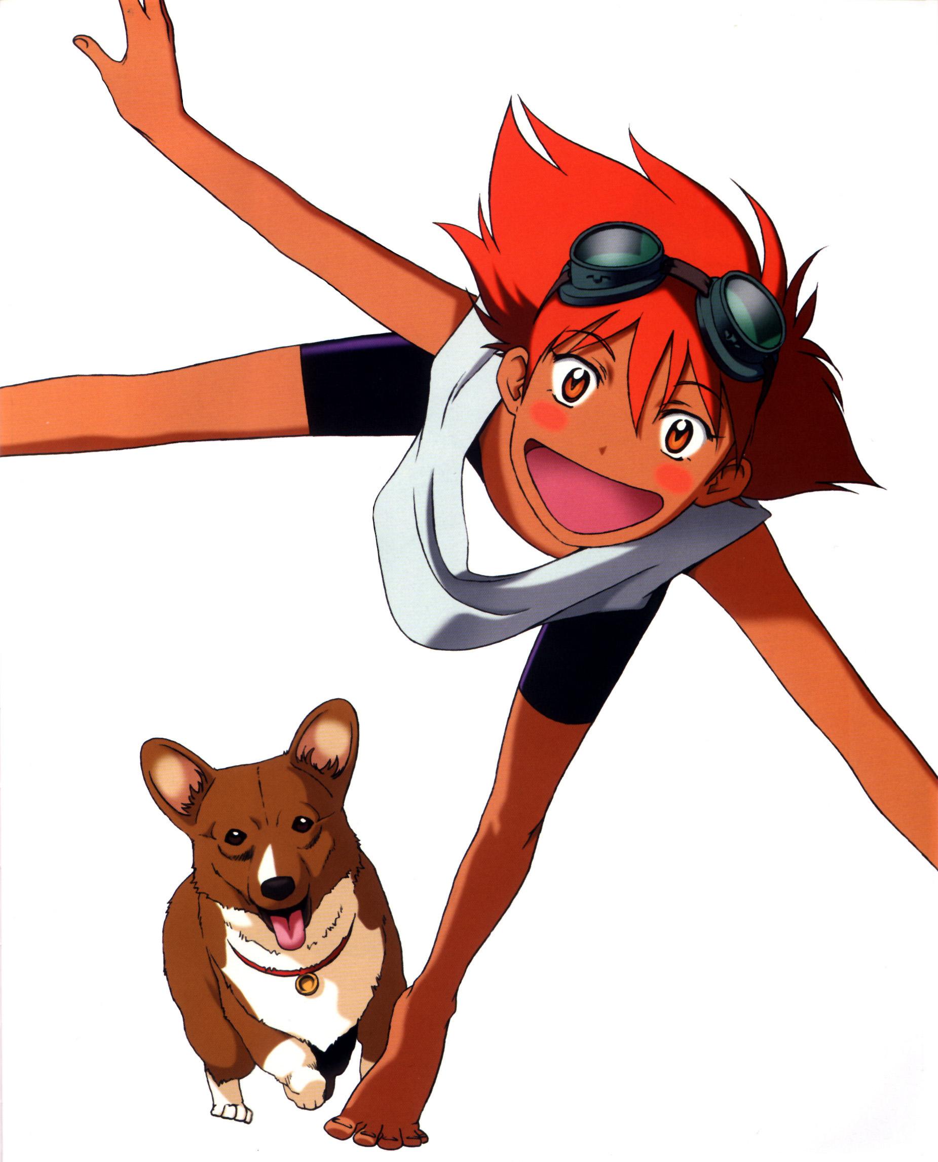 Red haired Radical Edward and her corgi Ein play around.