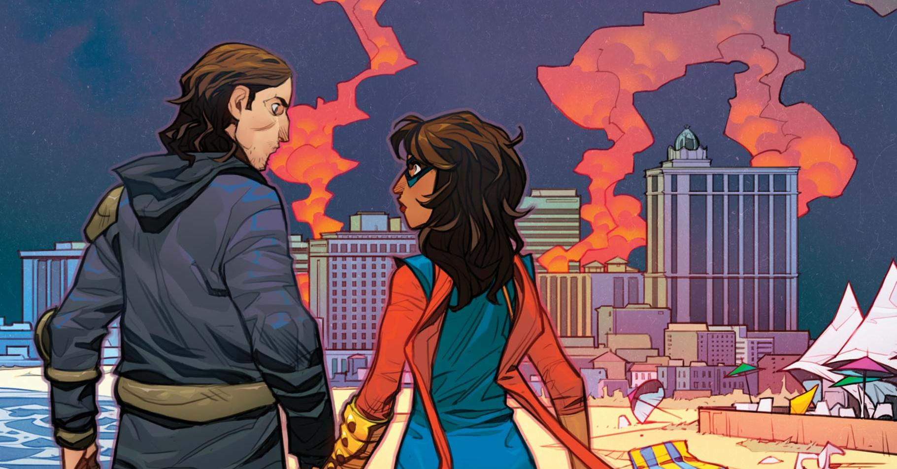 The Magnificent Ms Marvel #12: Kamala and Bruno hold hands on the beach.