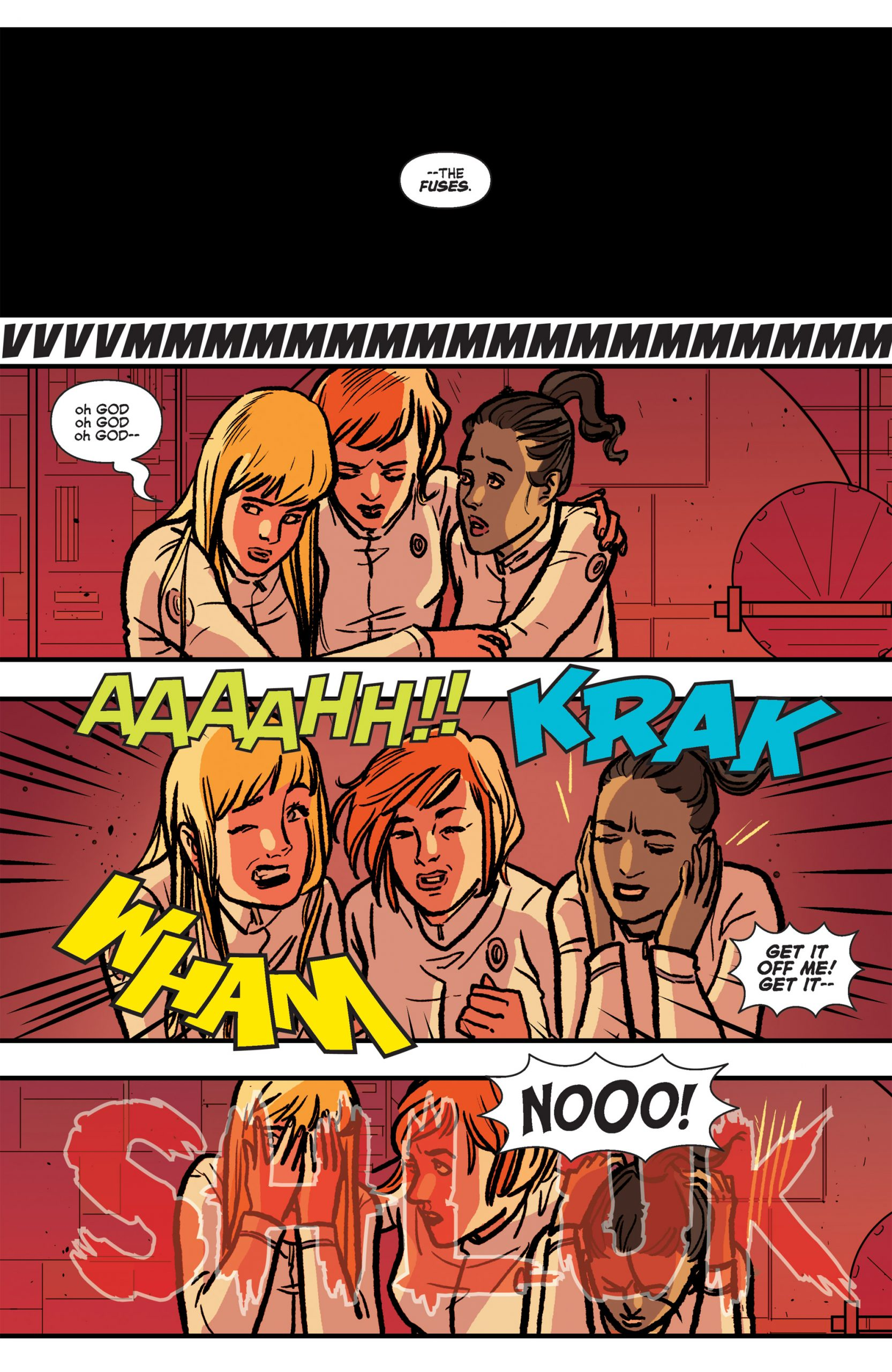 Hearing the noise of the alien attacking crew members in Josie and the Pussycats in Space #4.