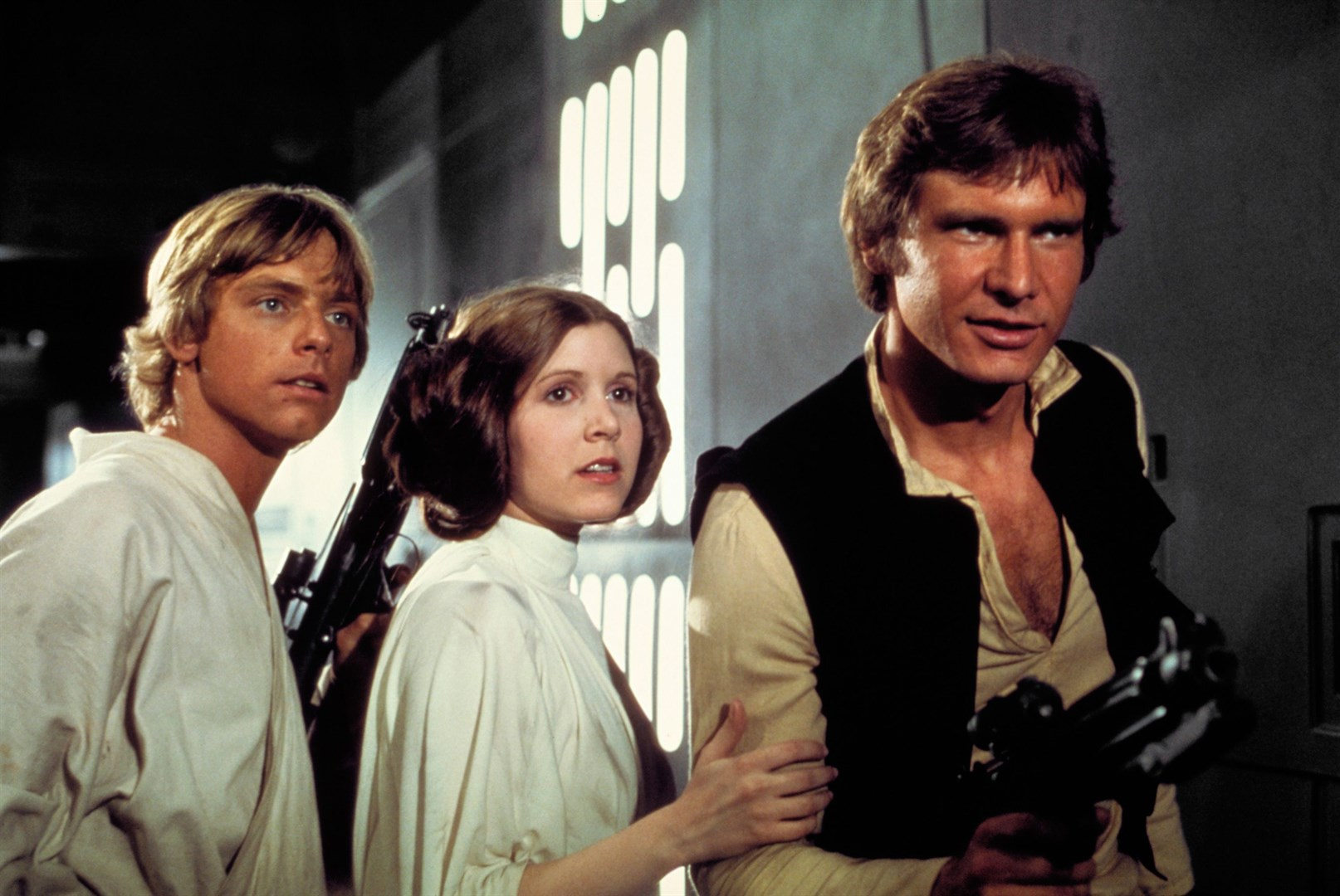 Luke, Han, and Princess Leia, before the romance mucked up the trio