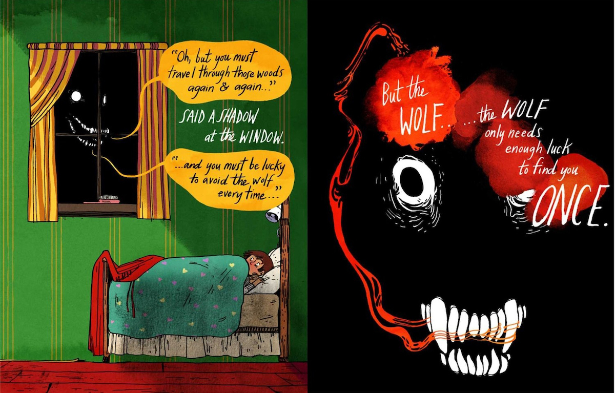 Two page spread of Through The Woods, with Little Red Riding Hood in bed while the wolf outside her window warns her about having to keep avoiding danger.