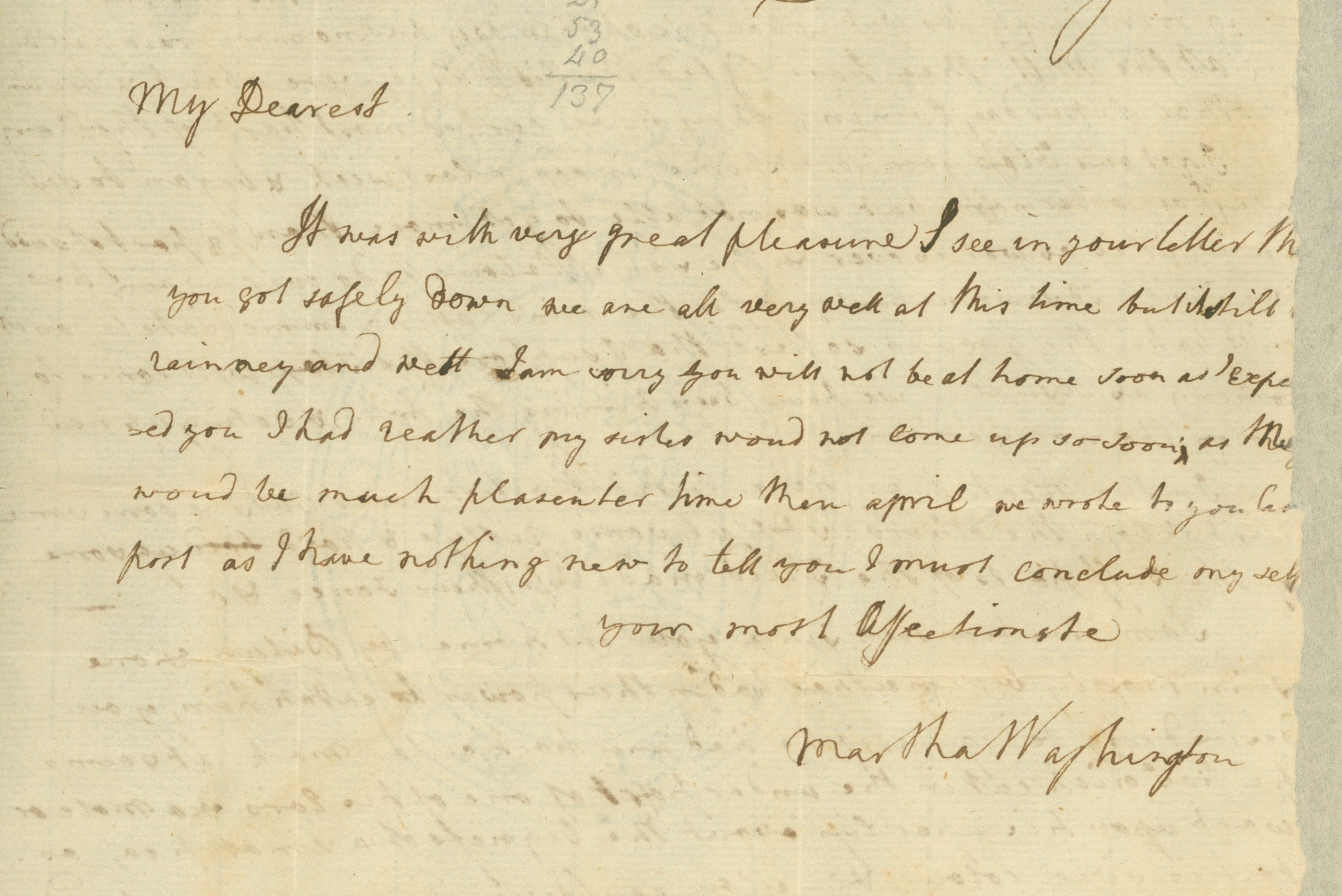 Valentines Day: Love letter from Martha Washington to George Washington