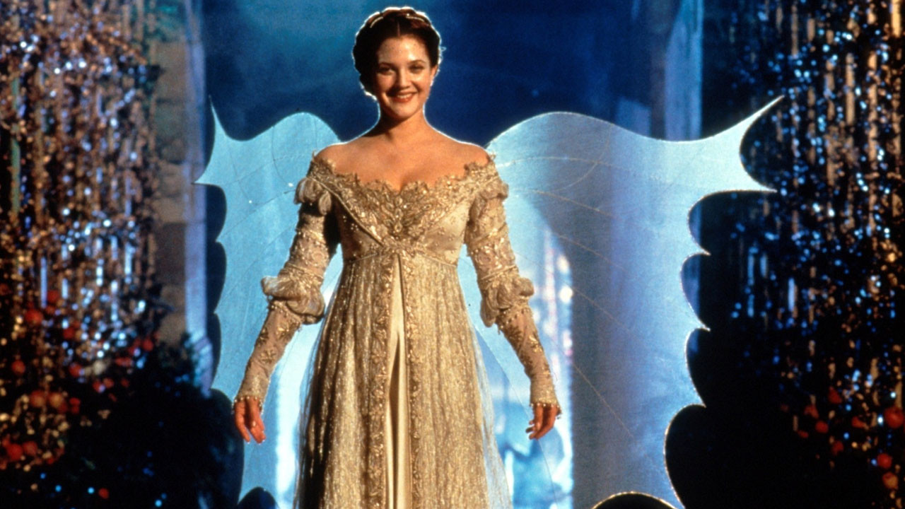 """Danielle, played by Drew Barrymore in her """"CInderella"""" dress."""