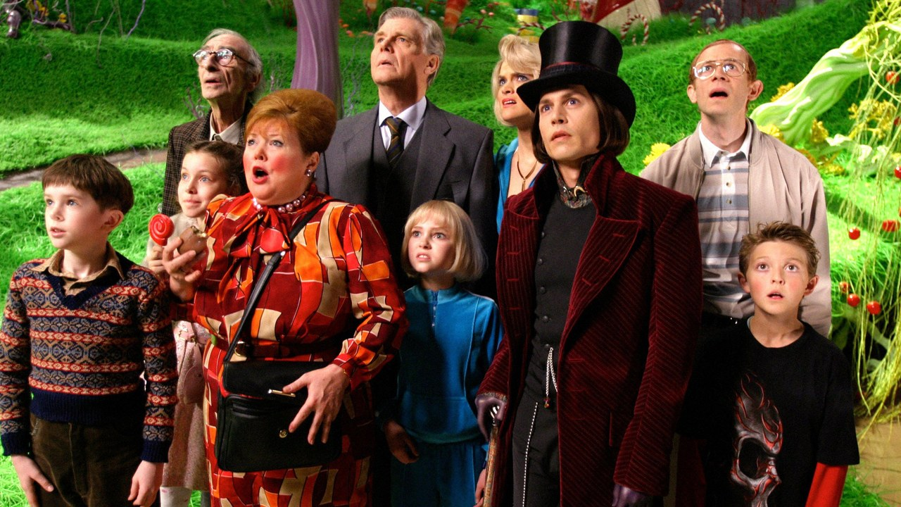 Wonka, the parents and the children looking up confused.