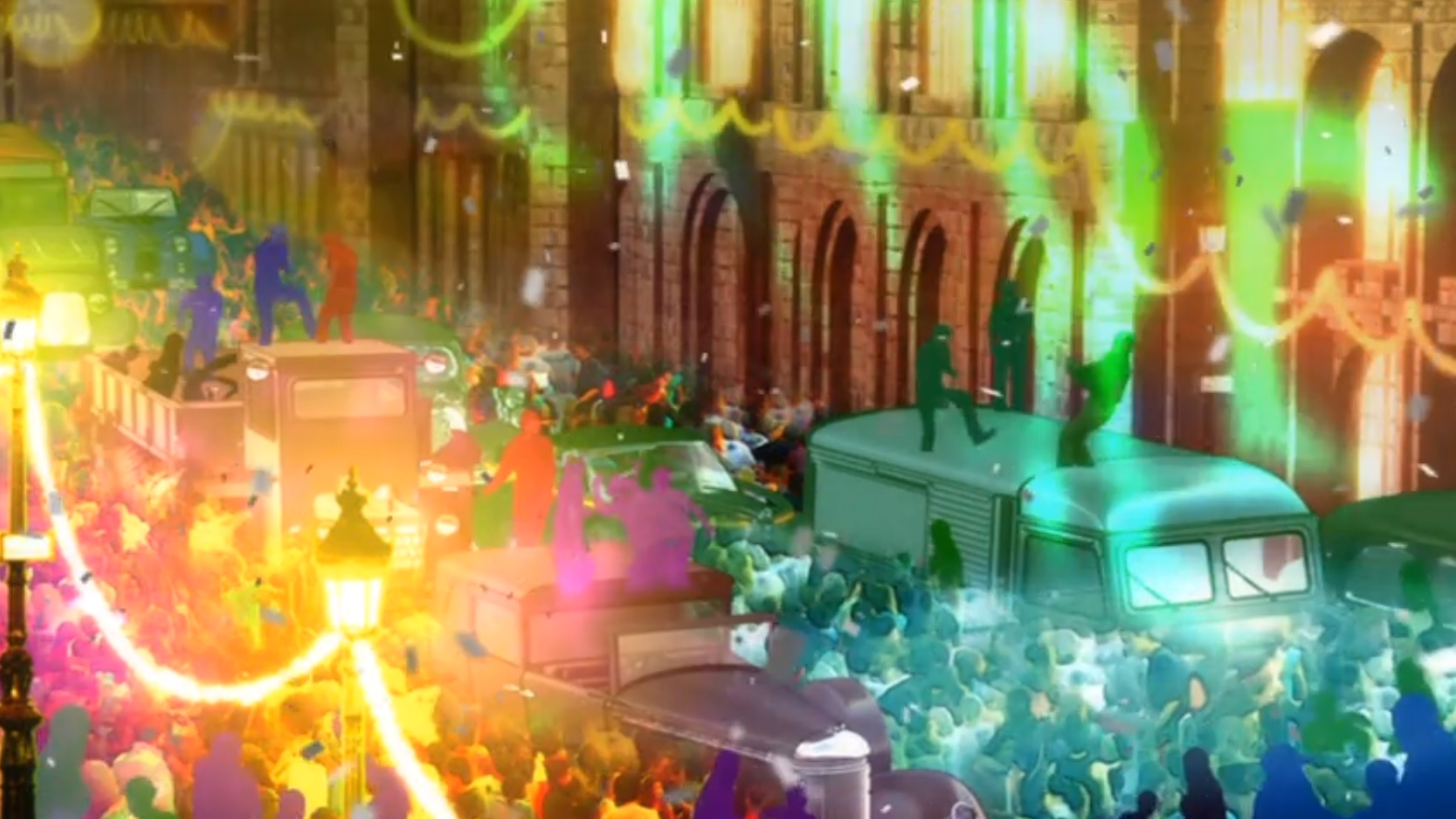 Outside image of a festival in crowded streets.  The mix of lighting and color showcases Gankutsuou's surreal animation.
