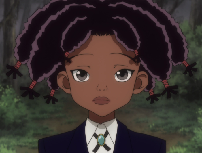 Canary as a black anime character guardian of the Zoldyck family.