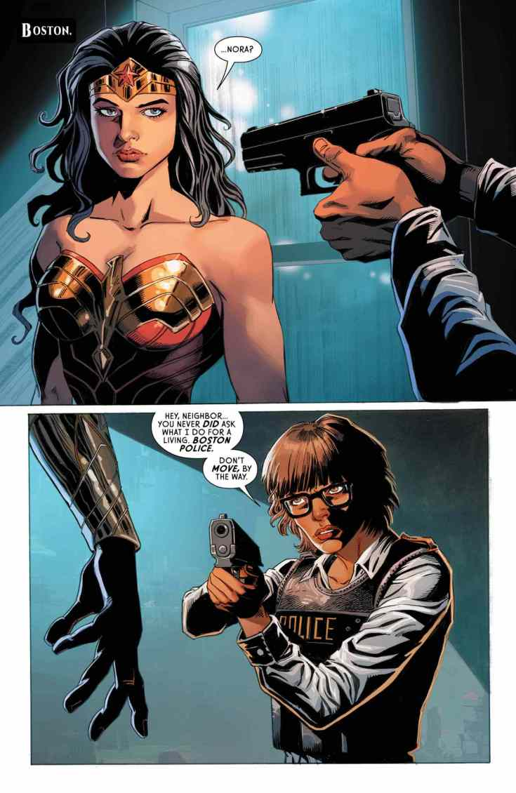 Wonder Woman #751, Page #1: Wonder Woman held at gunpoint by Officer Nunes