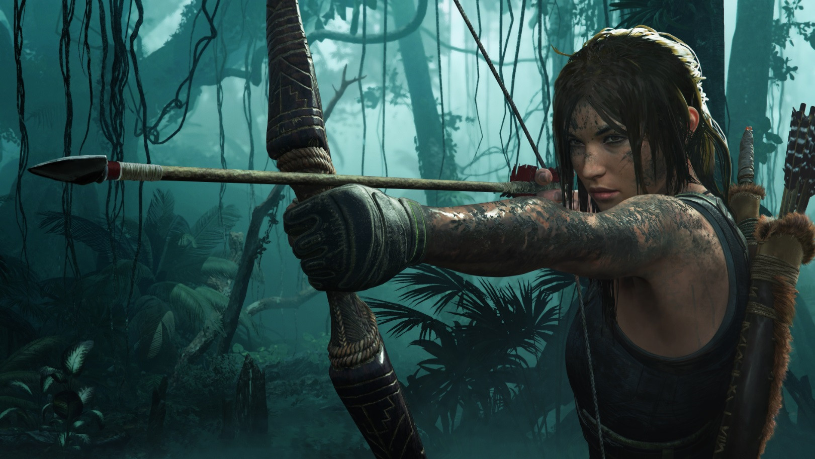 Lara Craft with bow and arrow from Tomb Raider