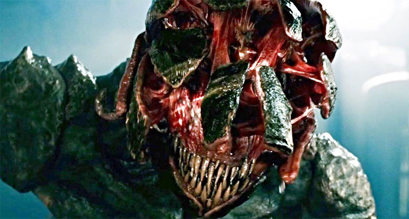 The Death Angel monsters from a quiet place with its armored head open so its middle ear can hear its prey.