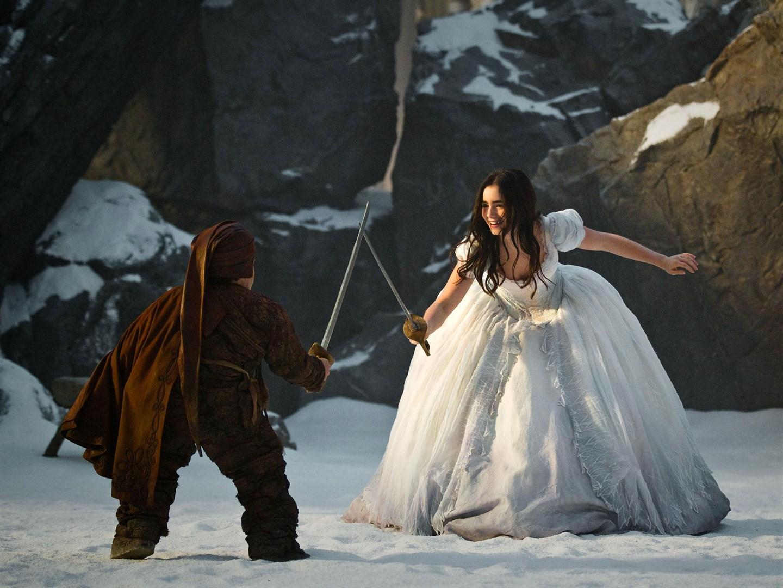 Princess Snow White trains with a sword.