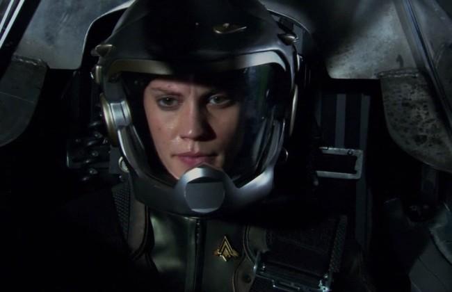 Kara Thrace Starbuck piloting in Battlestar Galactica