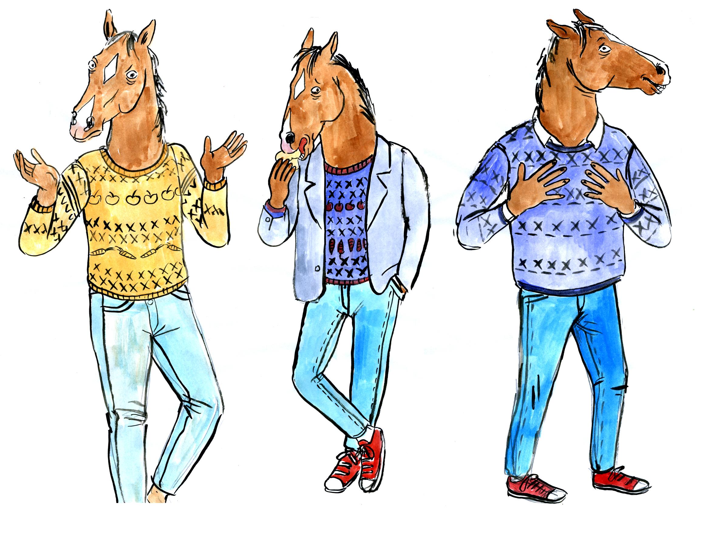 Lisa Hanawalt's designs of Bojack.