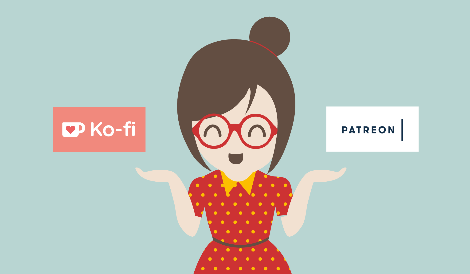Cartoon of a girl gesturing to the logos for Ko-fi and Patreon, which many fan artists and freehand artists use.