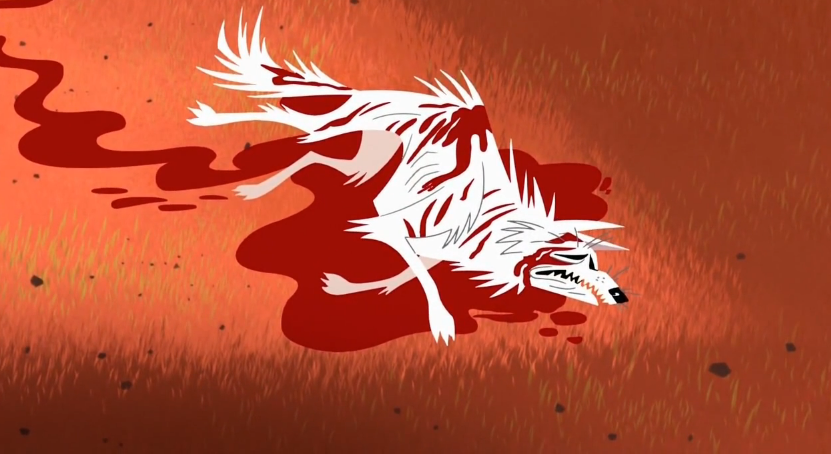 The wolf writhes in pain in the aftermath of battle.