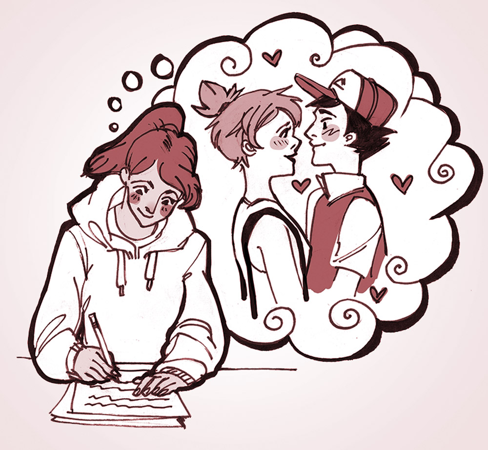 Girl writing fanfic of Ash and Misty from Pokemon