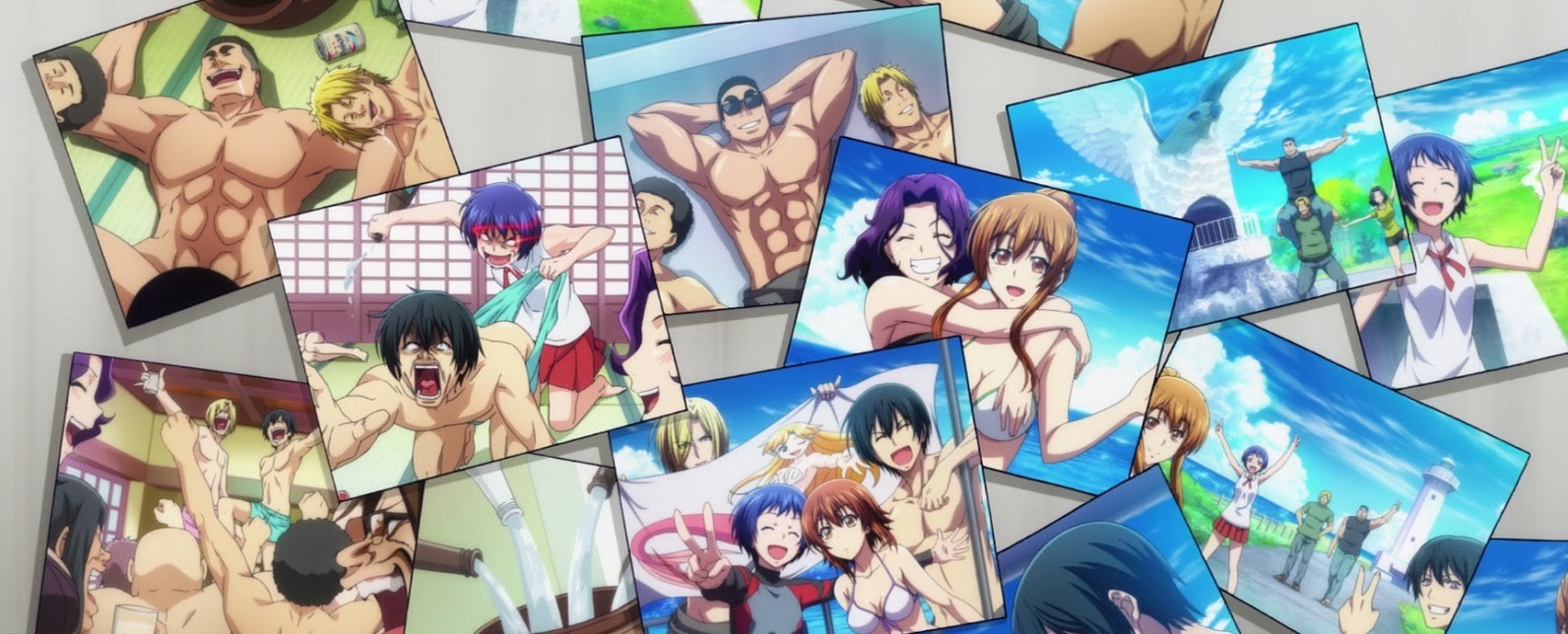 An arrangement of vacation pictures of characters in an episode of the Grand Blue anime.