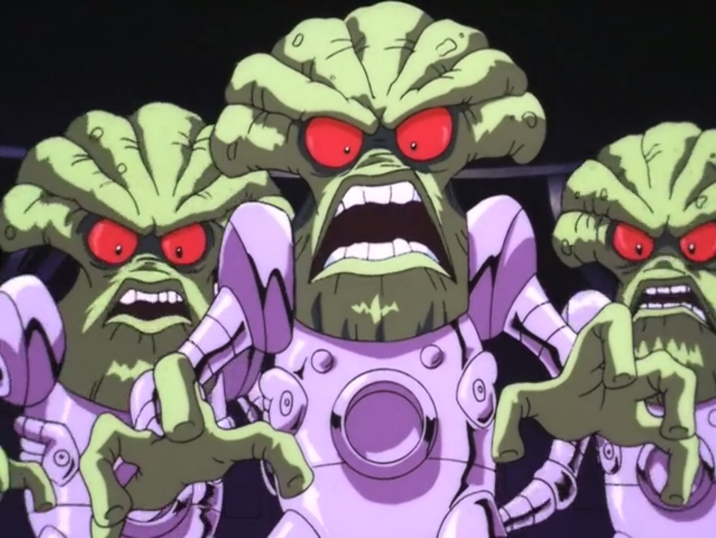 Three aliens from the film Scooby-Doo and the Alien Invaders.