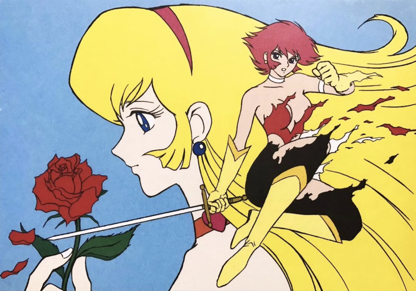 A profile of Honey from Cutie Honey holding a rose.  A full body image of Honey in her magical girl form is overlapping.  She holds a sword and her outfit is being torn off.