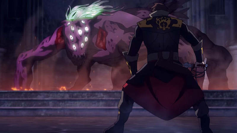 Trevor facing off against the night creature that controls the priory.The main plot point of Castlevania season three.
