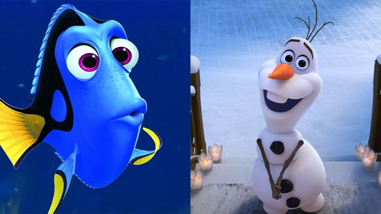 Split photo of Dory and Olaf