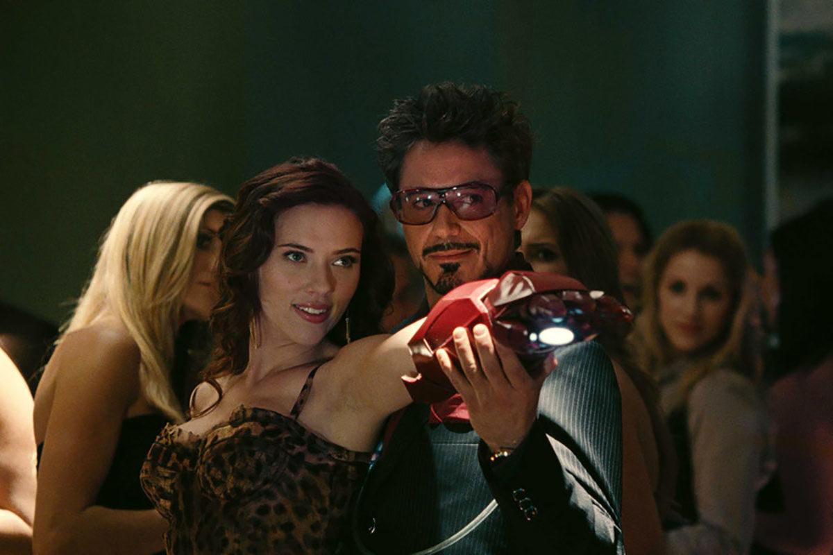 Scarlett Johansson and Robert Downey, Jr. as Natasha Romanov and Tony Stark in Iron Man 2