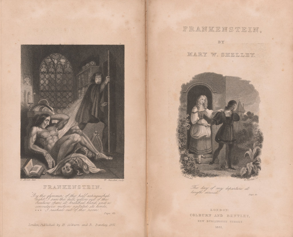 The first pages of Mary Shelley's Frankenstein.
