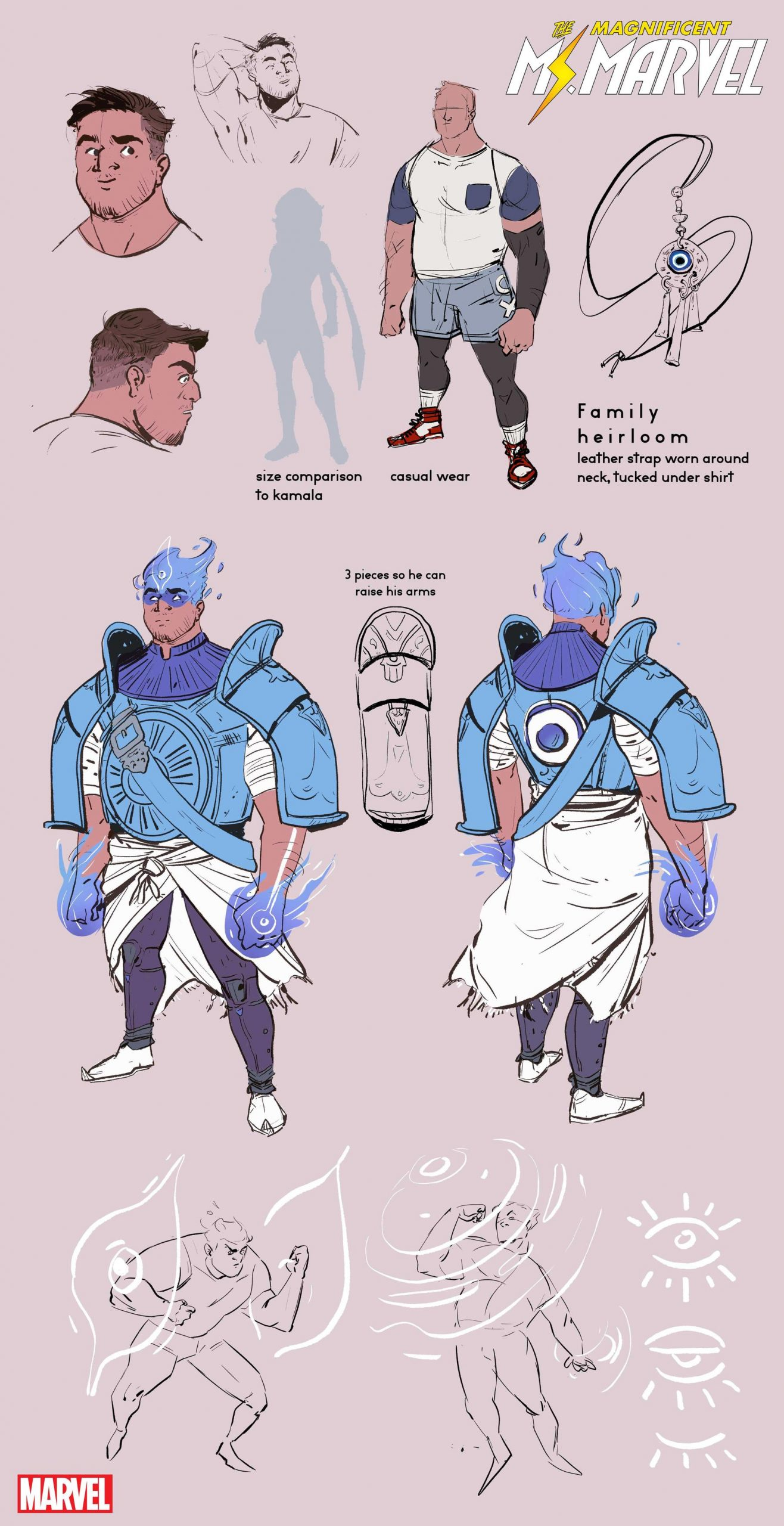 Amulet's character design features blue and purple armor with a nazar on his chest and flaming blue hair.