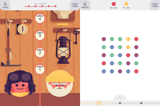 """""""Two Dots"""" home and play screen provides zen and fun entertainment."""