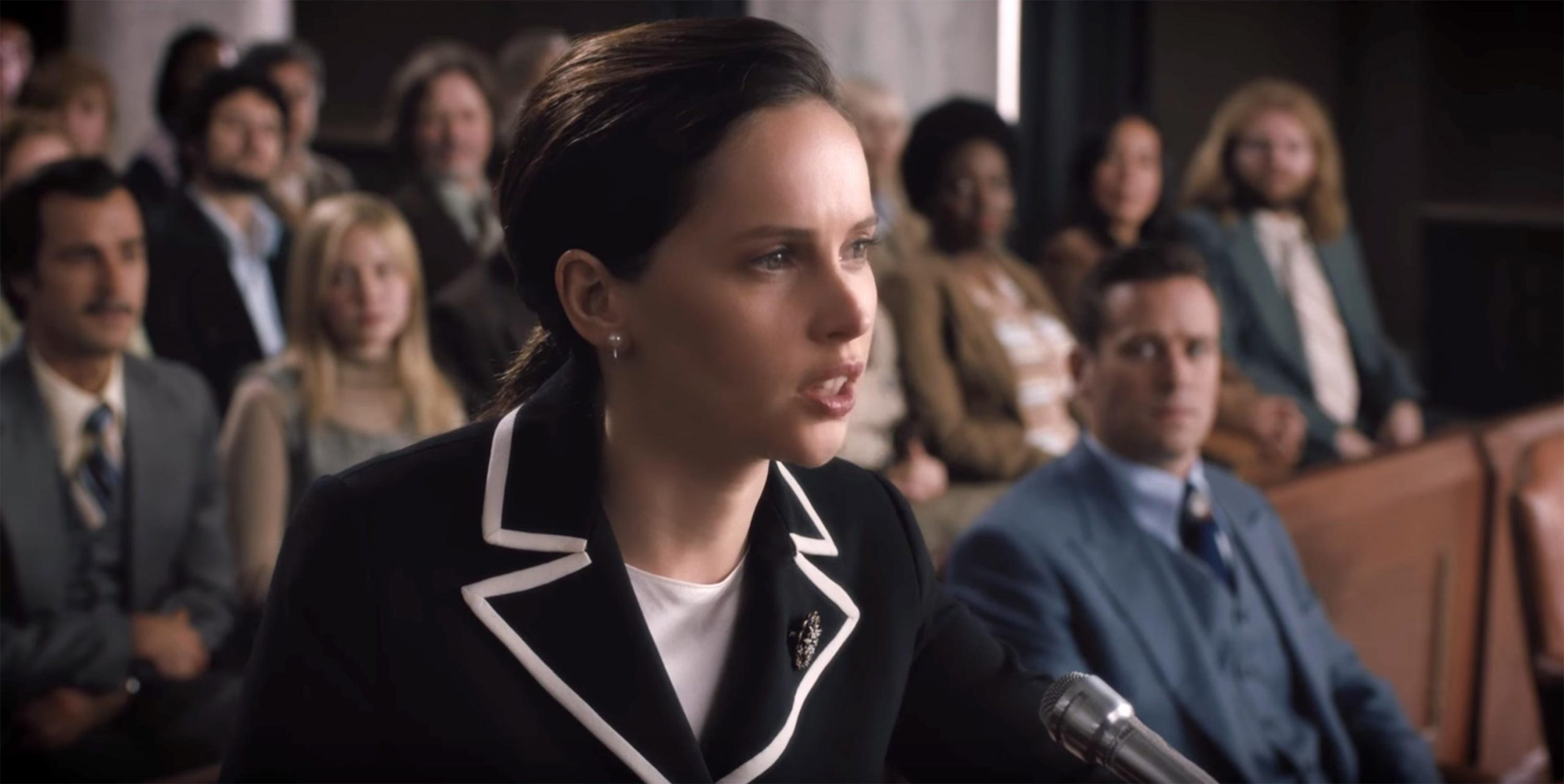 Felicity Jones as Ruth Bader Ginsburg in One the Basis of Sex.