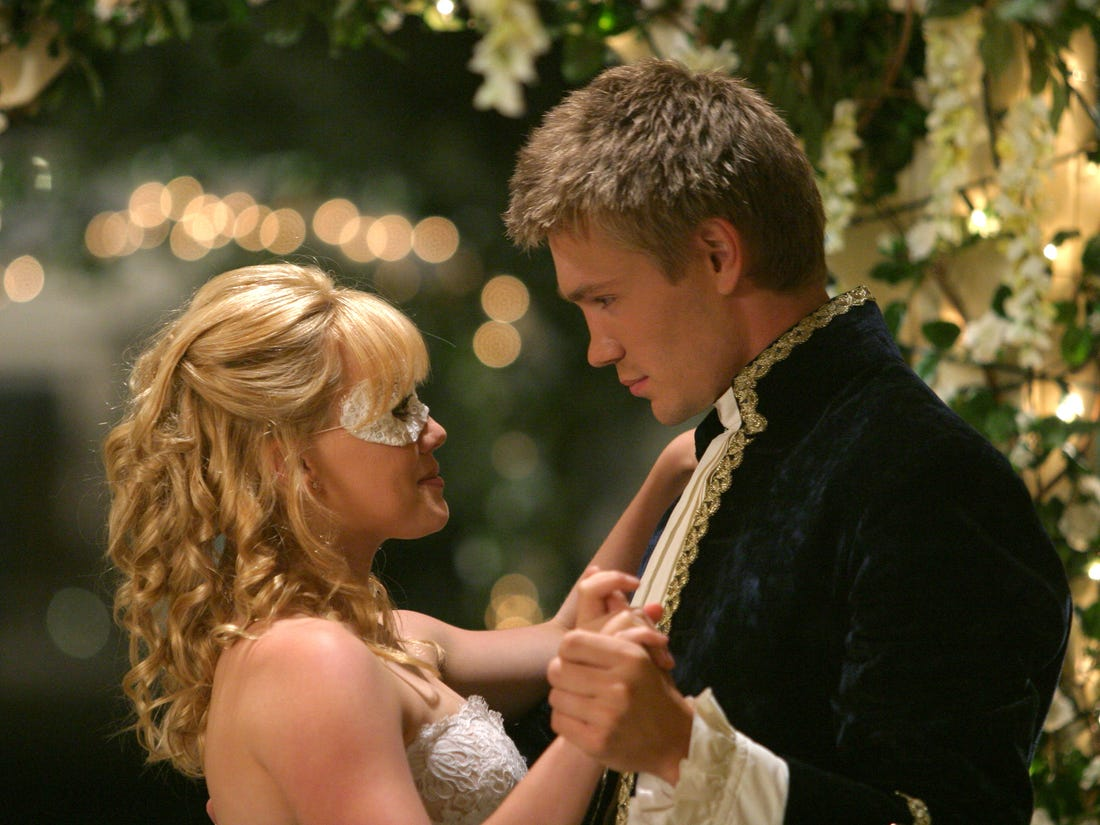 Cinderella with her prince charming at a ball themed prom