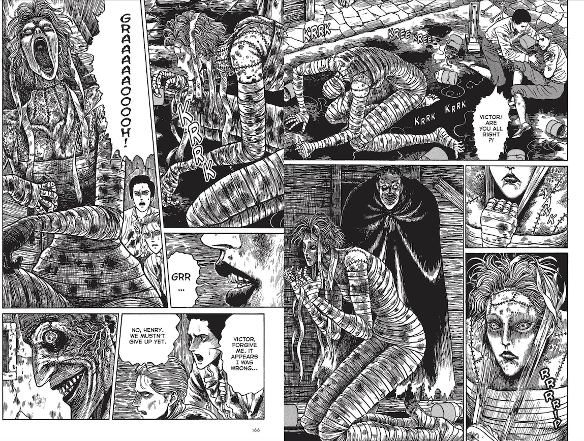 Page 165-166 of Junji Ito's Frankenstein depicting the female creature coming to life.  Victor and Henry are appalled by this, while the creature is pleased.