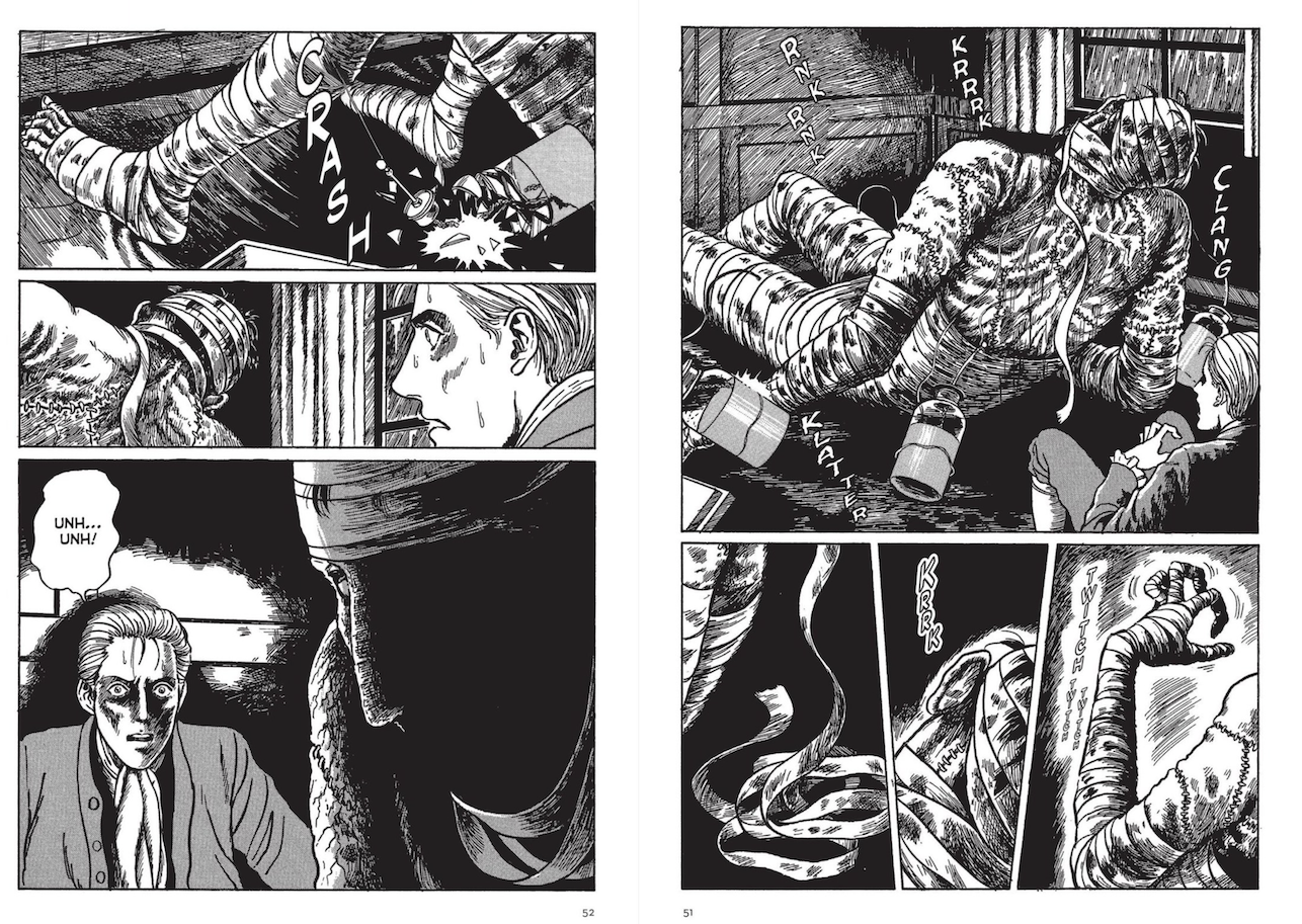 Pages 51 and 52 from Ito's Frankenstein.  The creature is coming alive and slowly sitting up while Victor watches in horror.