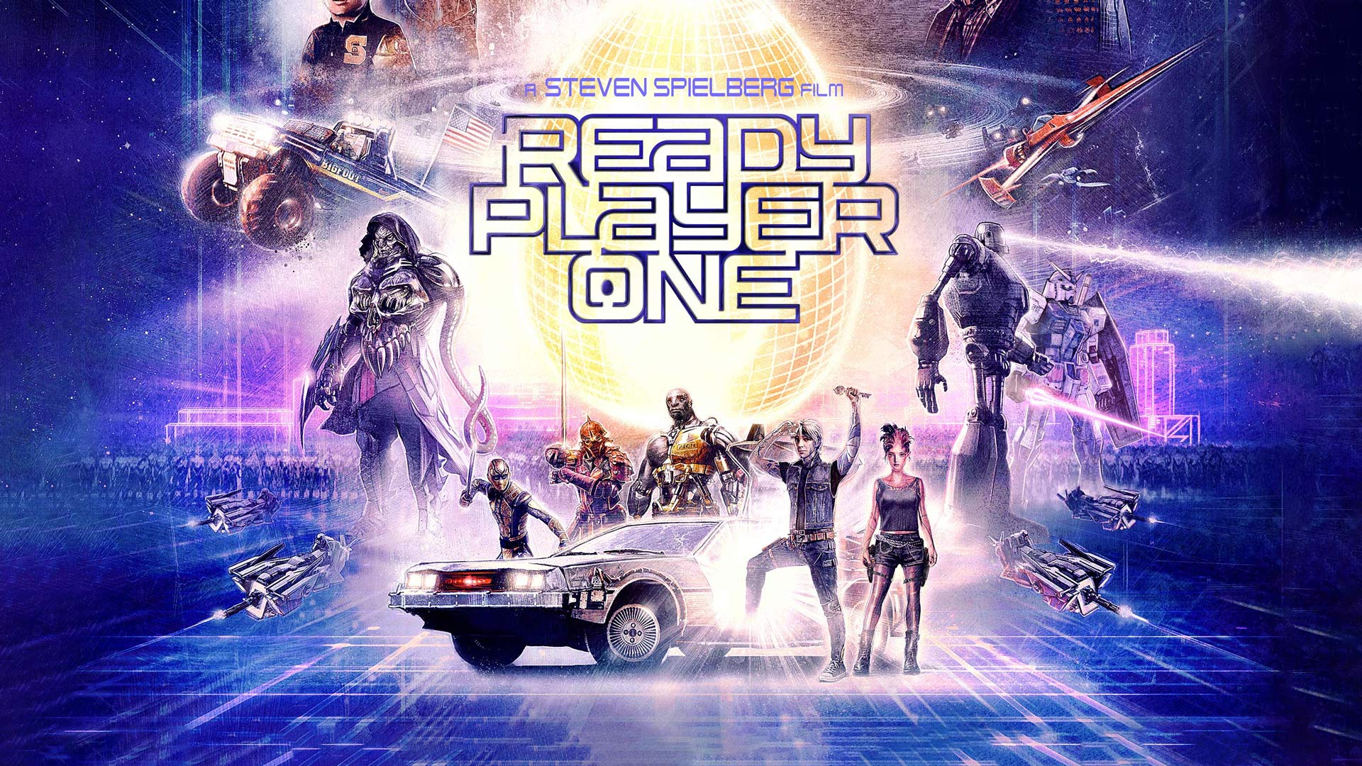 Stylized poster of the main characters video game avatars in Ready Player One.