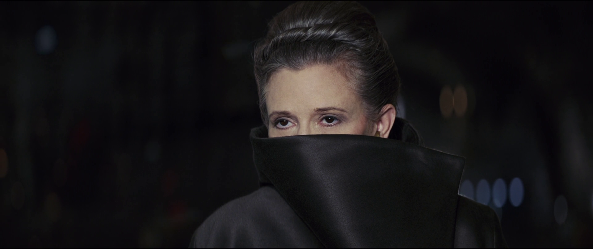 Carrie Fisher as General Leia Organa in Star Wars: The Last Jedi, a franchise which deserved so many better endings