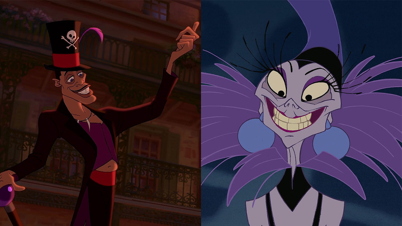 Split photo of The Shadow Man and Yzma as a Disney couple