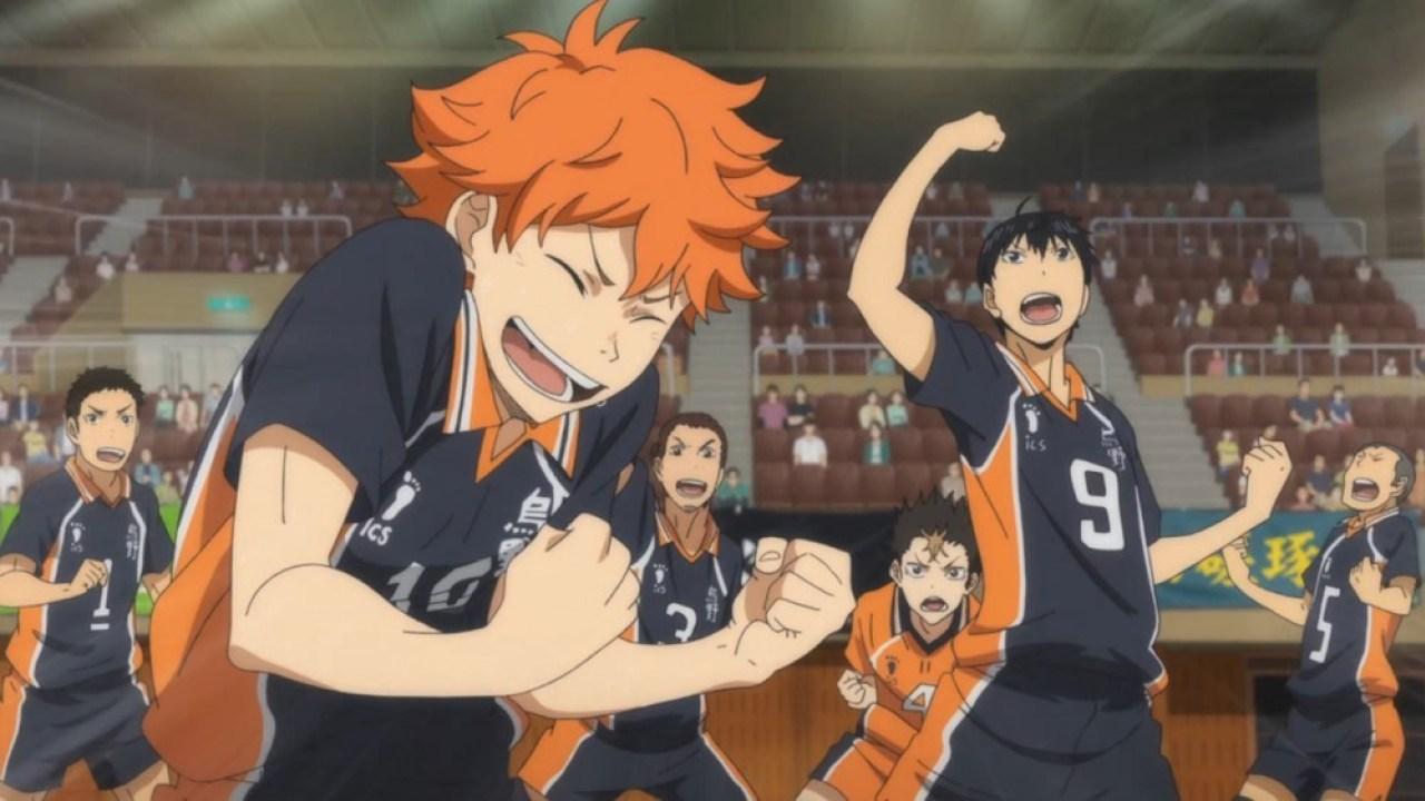 Sports anime Haikyuu!!'s Karasuno boy's volleyball team in various poses.
