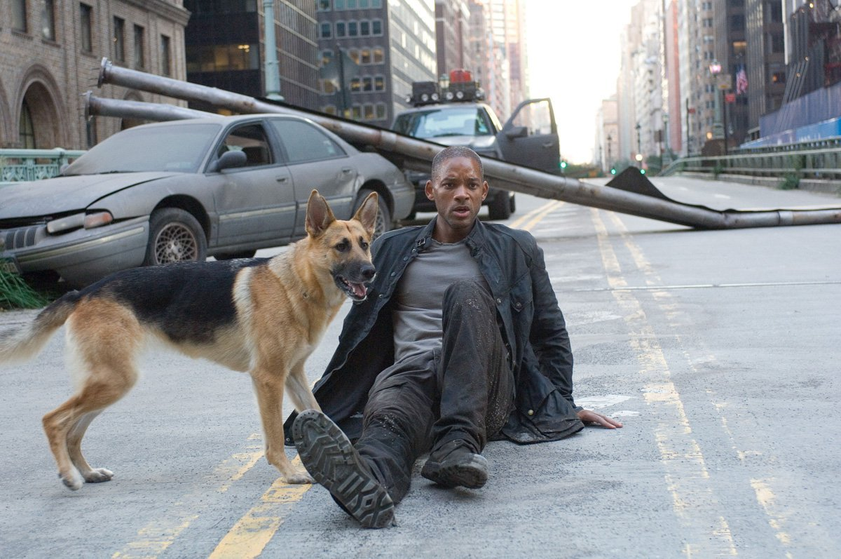 The last surviving man in post-apocalyptic New York and his dog on the street.