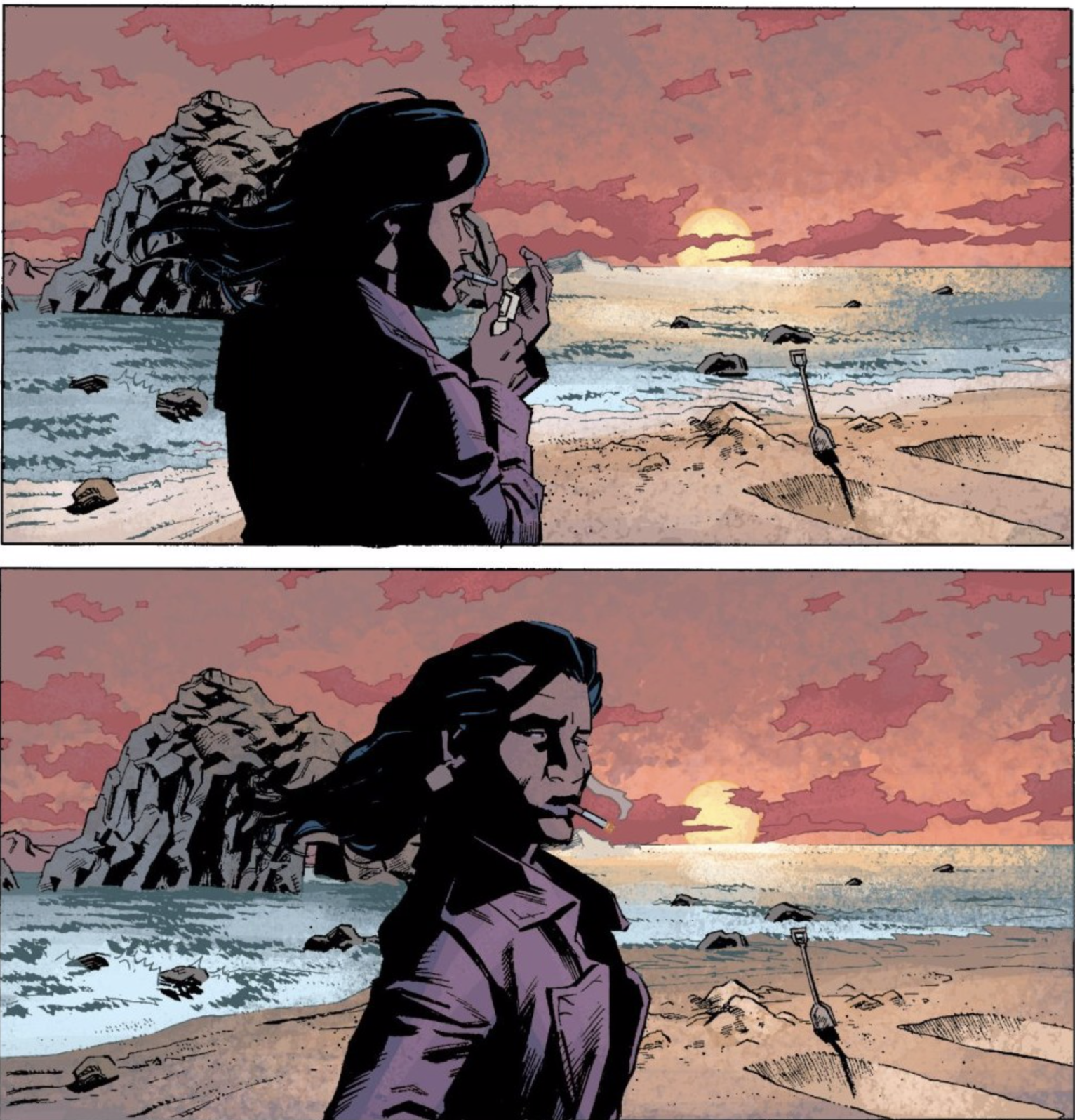 From page 108, two panels of Jackie smoking at a beach, with two dug graves behind her.