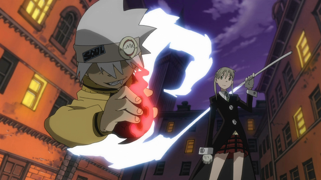Maka and Soul from the shonen anime series Soul Eater.  Soul is emerging out of his scythe form while Maka holds the scythe's handle over her shoulder.