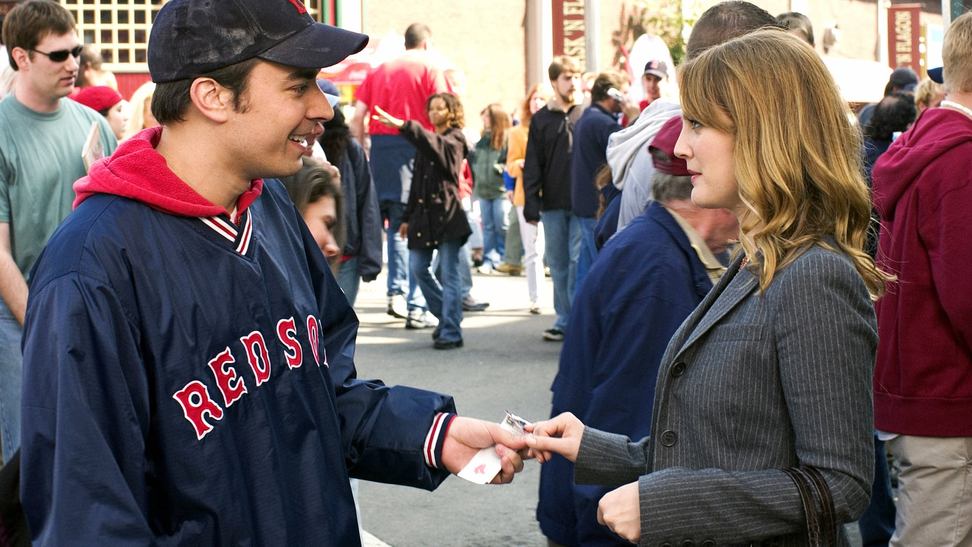 Jimmy Fallon and Drew Barrymore in Fever Pitch.
