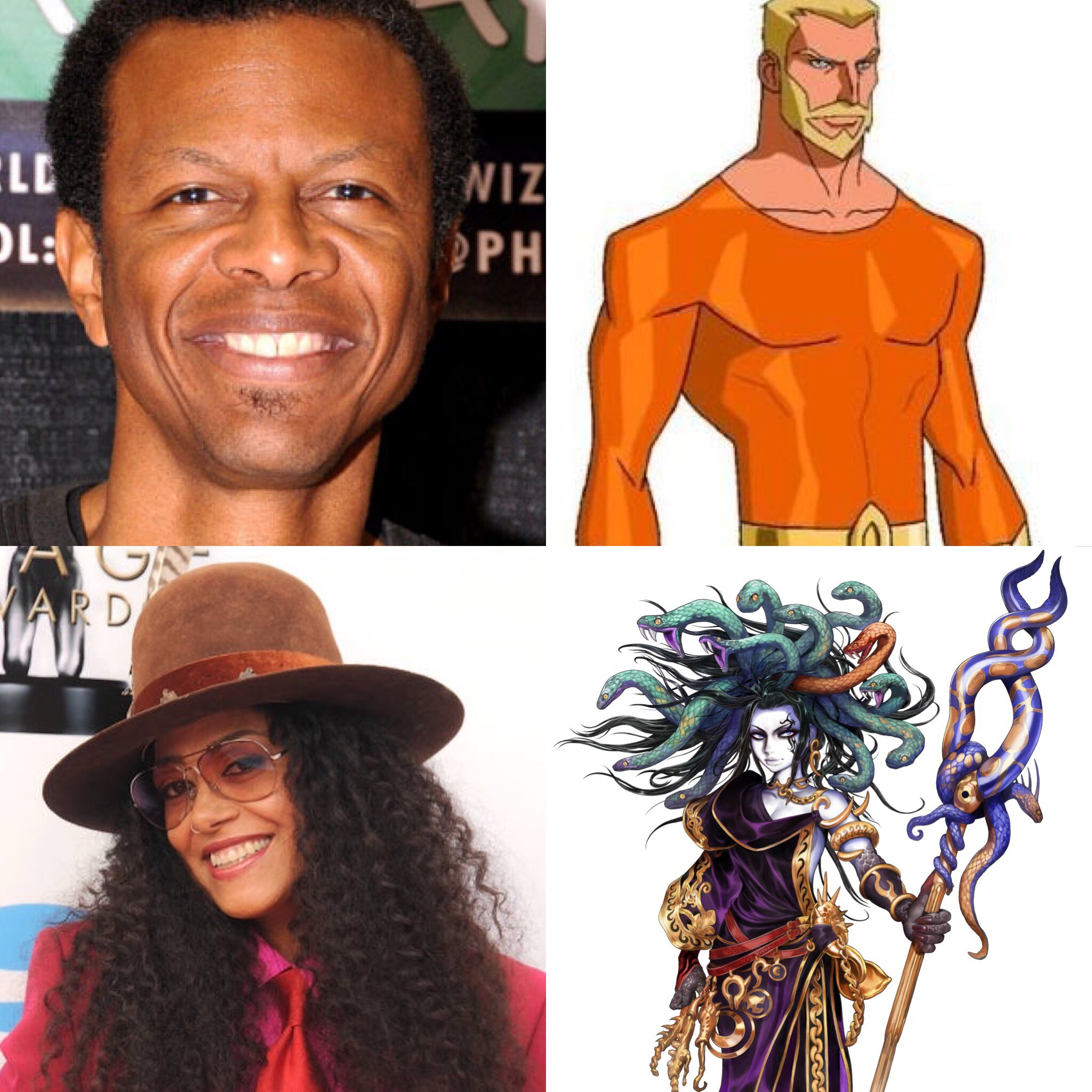 Phil LaMarr, Aquaman, Cree Summer, and Medusa