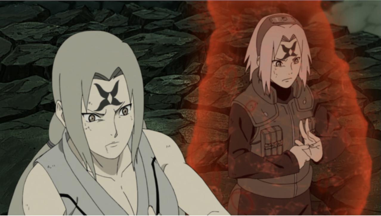 Tsunade and Sakura in battle stances from the shonen anime, Naruto.