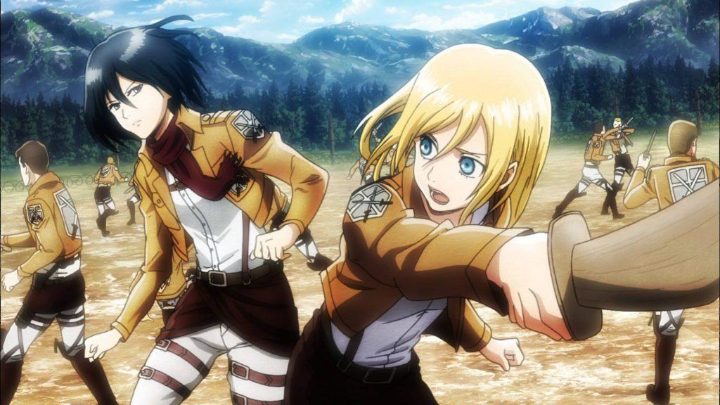 Mikasa and Krista sparing
