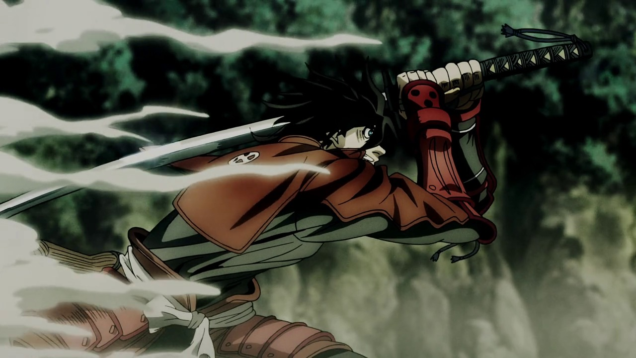 A scene from the anime Drifters, where Toyohisa Shimazu charging straight into battle.