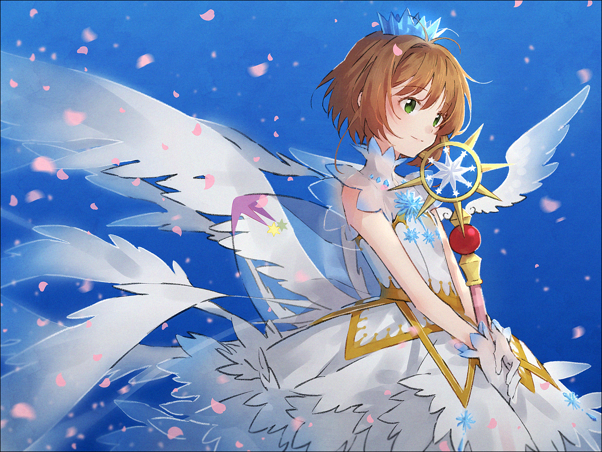 Sakura from Cardcaptor Sakura in a white dress, with the wing card.