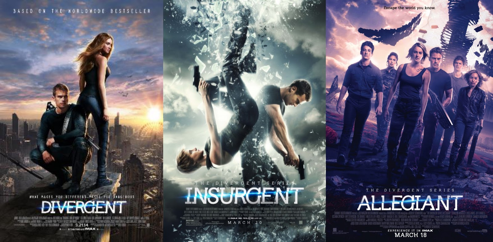 The three theatrical movie adaptation posters side-by-side showing the main characters on a ledge overlooking the city, falling back-to-back, and advancing with their allies.