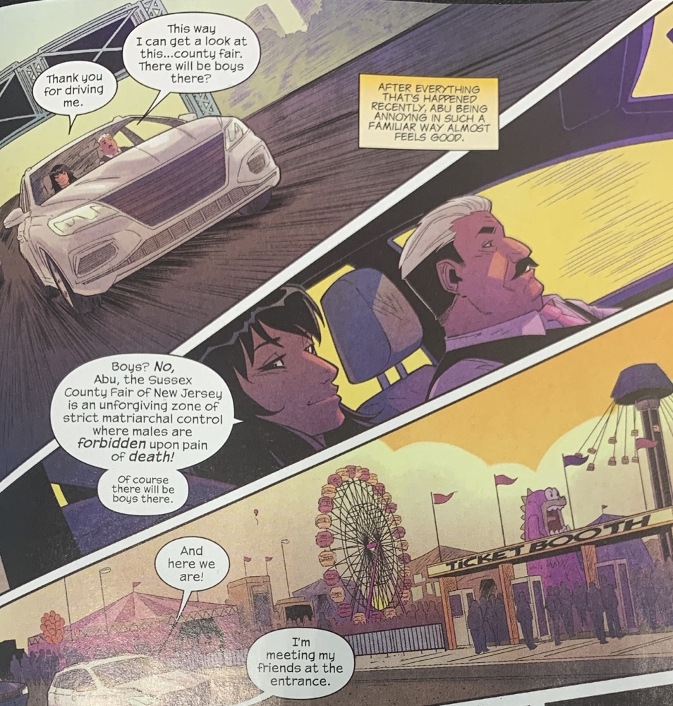 The Magnificent Ms Marvel #13: Page 3, Kamala's dad drives her to the fair.