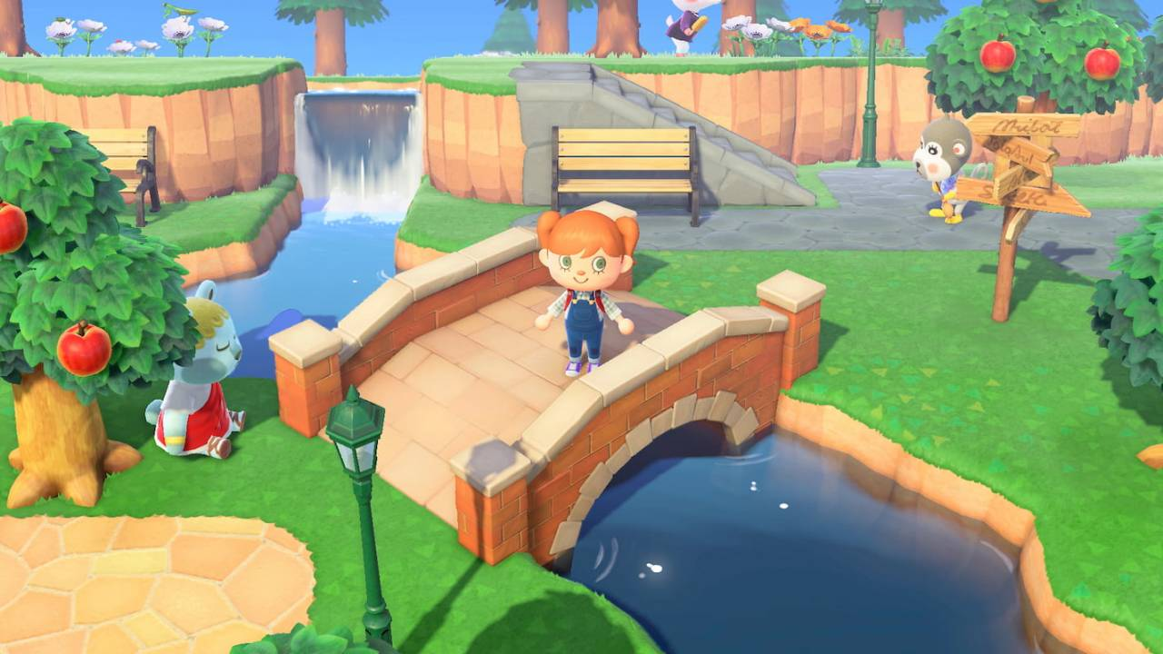 Player stands on a bridge in Animal Crossing: New Horizons